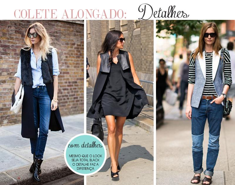 Como usar colete alongado comprido com detalhes em pele, couro e outras cores