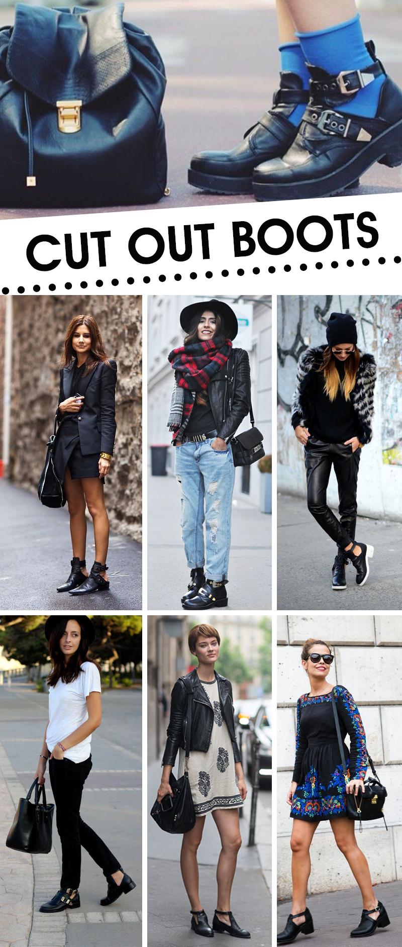 Como usar tendência em sapatos femininos cut out boots botas com recortes