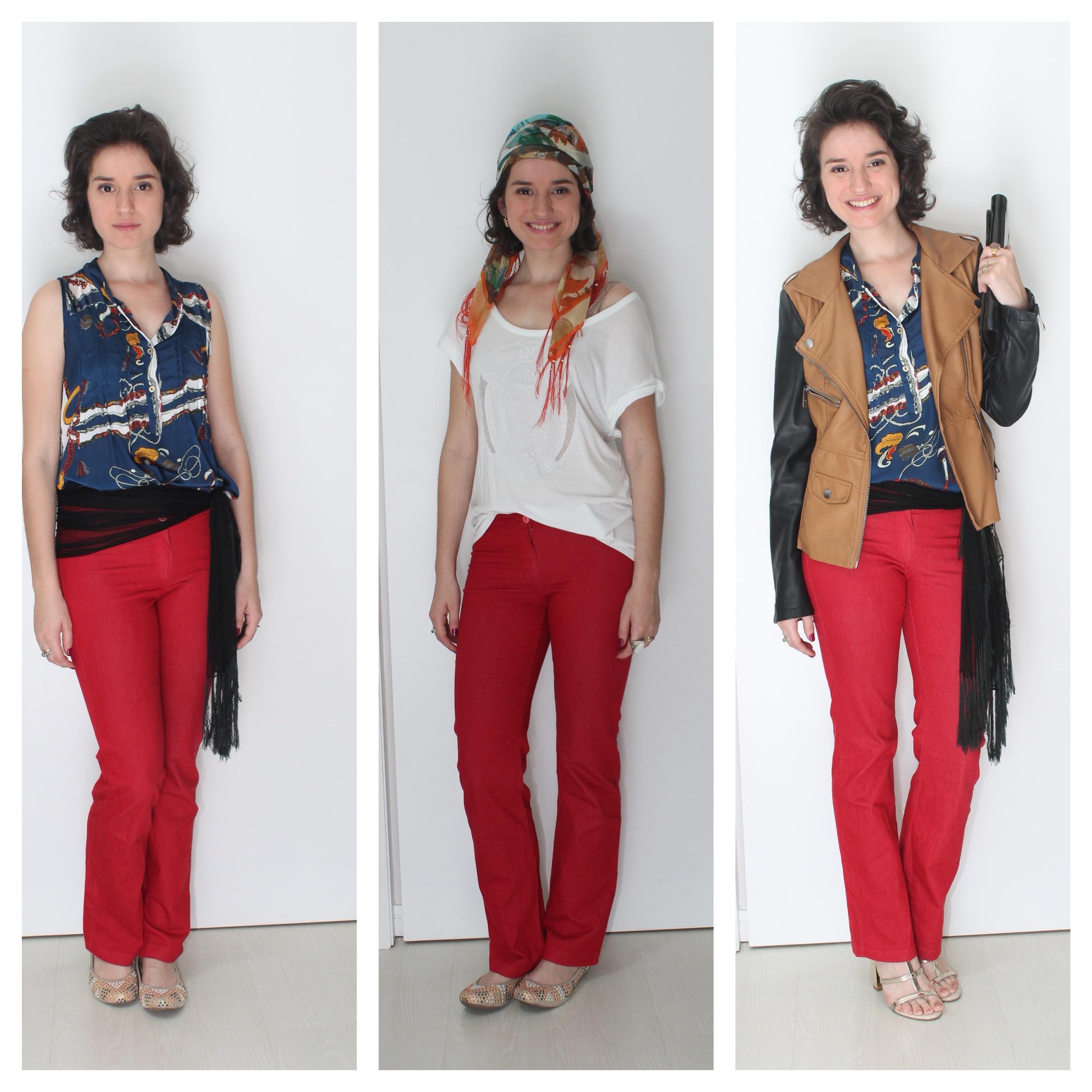 3 formas de usar calça vermelha