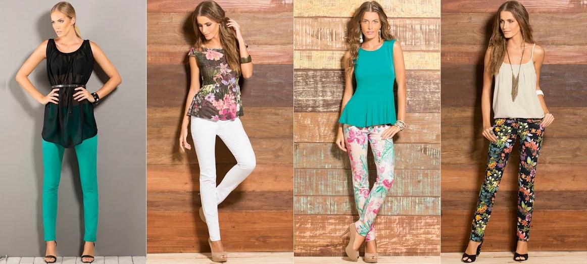 calças coloridas e estampadas tendência verão 2015
