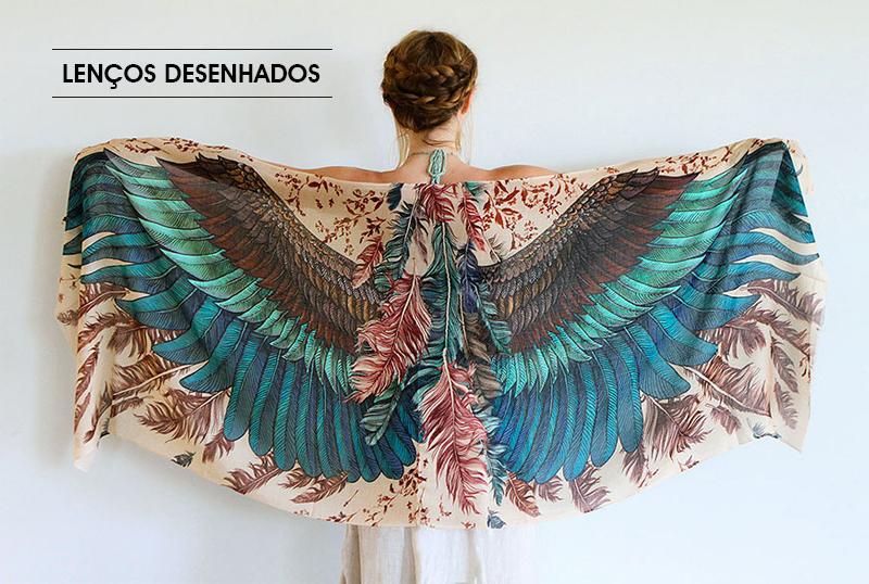 lenços desenhados com asas