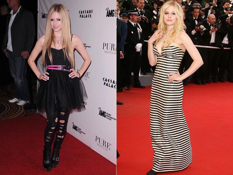 Avril Lavigne antes e depois