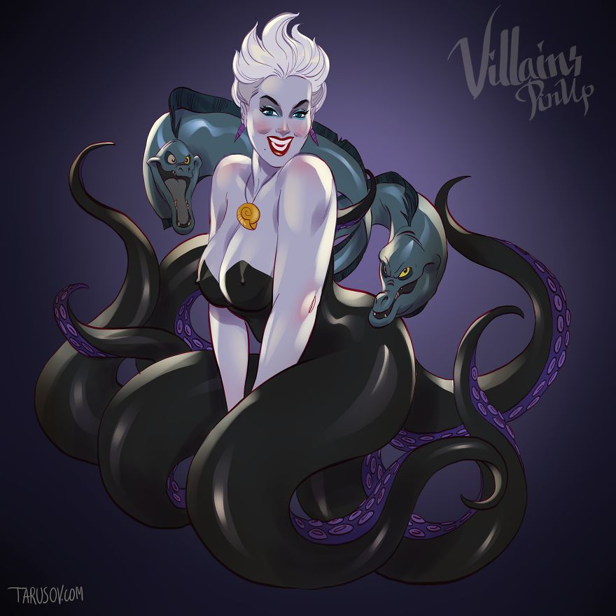 Vilãs da Disney versão pin up Ursula