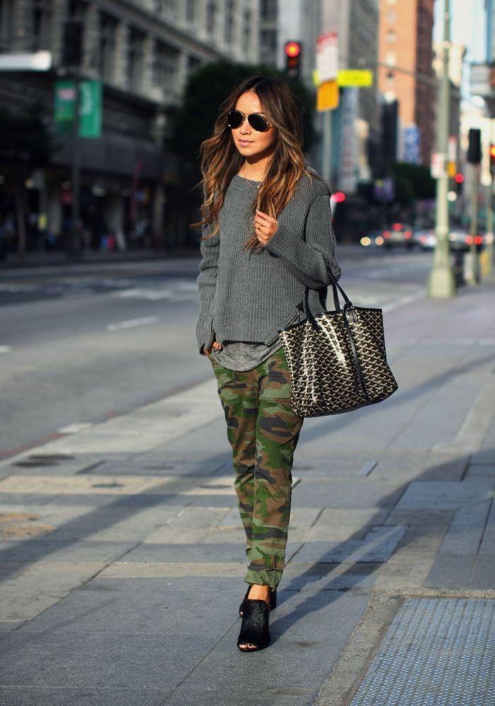 street style calça camuflada militar moderno