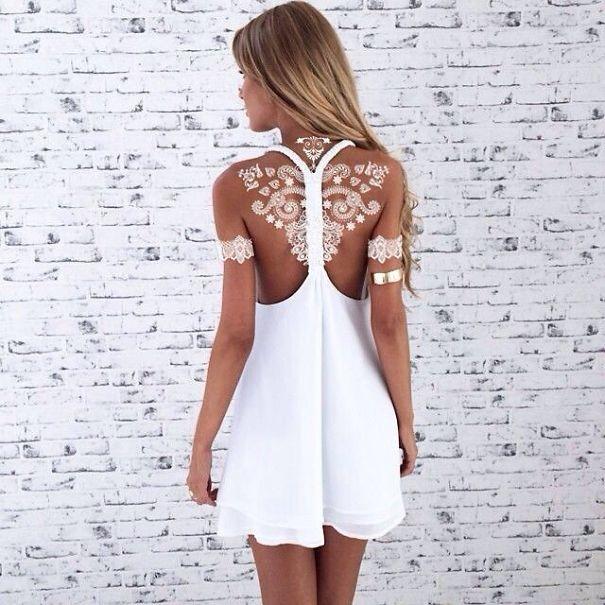 tatuagem temporária de henna branca que imita renda