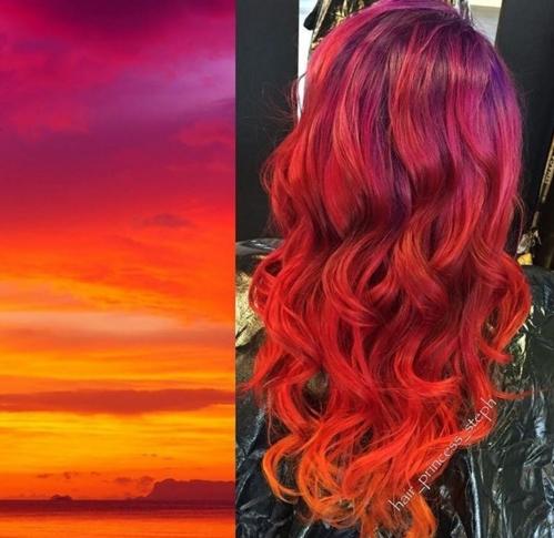 Veja o resultado do sunset hair  cabelo que imita cores do pôr do sol   Beleza
