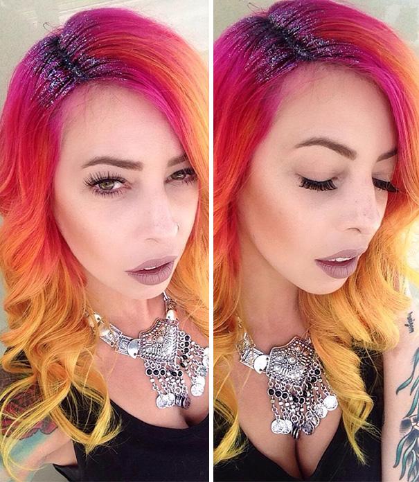 cabelo colorido com glitter na raiz