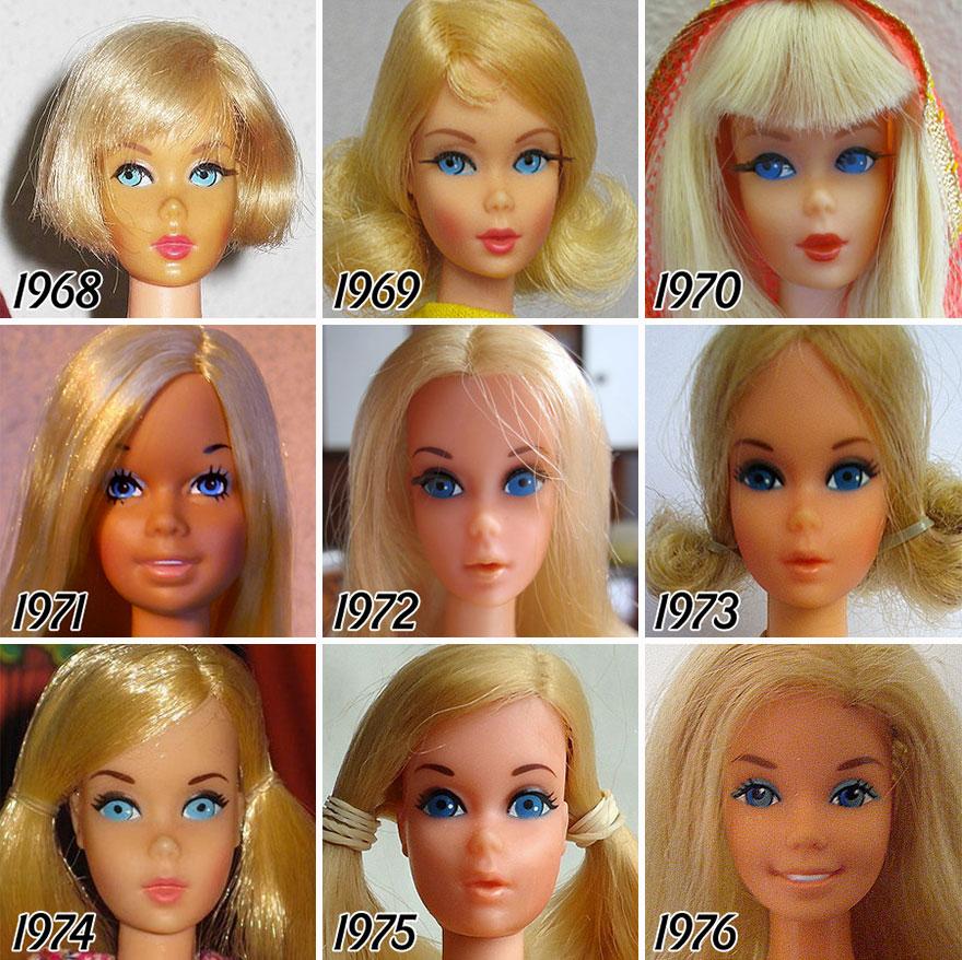 evolução da boneca Barbie 2