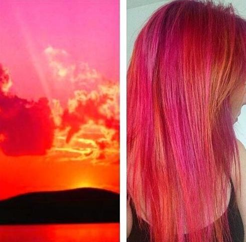 sunset hair  cabelo que imita cores do pôr do sol