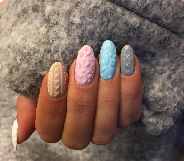unhas nail art com efeito de lã