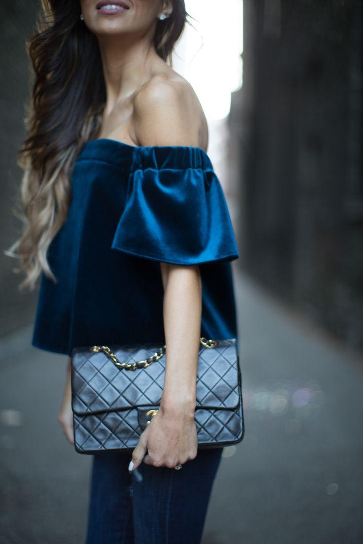 look feminino blusa de veludo azul